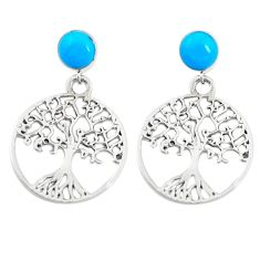 Fine blue turquoise 925 sterling silver tree of life earrings c11815