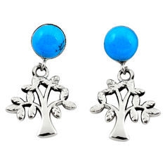Fine blue turquoise 925 sterling silver tree of life earrings jewelry c26013