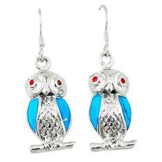 4.65gms fine blue turquoise coral enamel 925 sterling silver owl earrings c11858