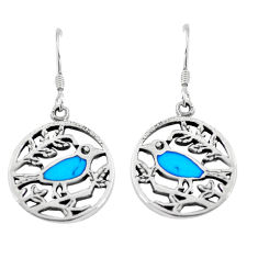 4.28gms fine blue turquoise enamel 925 silver birds earrings a88630 c14215