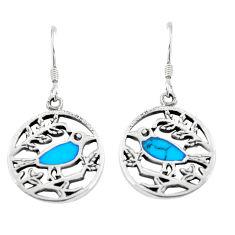 4.02gms fine blue turquoise enamel 925 silver birds earrings a91928 c14206