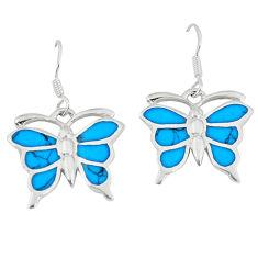6.02gms fine blue turquoise enamel 925 silver butterfly earrings a46376 c14327