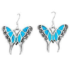 6.02gms fine blue turquoise enamel 925 silver butterfly earrings a88445 c13656
