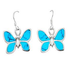 6.26gms fine blue turquoise enamel 925 sterling silver butterfly earrings c16944