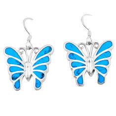 7.26gms fine blue turquoise enamel 925 silver butterfly earrings a88621 c13647