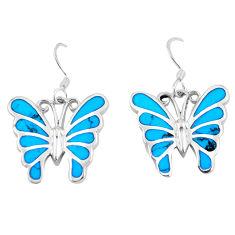 7.02gms fine blue turquoise enamel 925 silver butterfly earrings a88623 c13644
