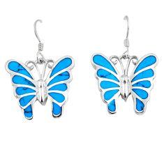 7.48gms fine blue turquoise enamel 925 silver butterfly earrings a88624 c13645