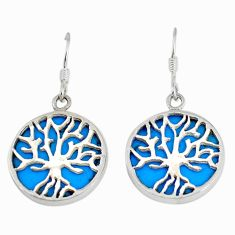 Fine blue turquoise enamel 925 silver tree of life earrings jewelry c11662