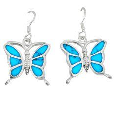 Fine blue turquoise enamel 925 sterling silver butterfly earrings a49643 c14322
