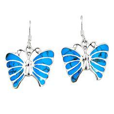 Fine blue turquoise enamel 925 sterling silver butterfly earrings c11588