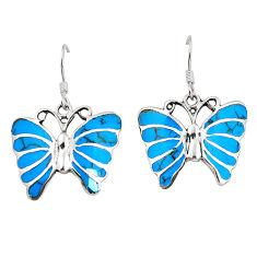 Fine blue turquoise enamel 925 sterling silver butterfly earrings c11598