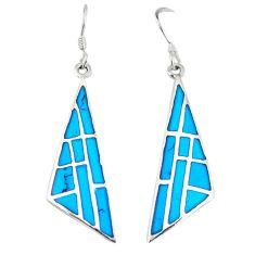 Fine blue turquoise enamel 925 sterling silver dangle earrings a67762 c14270