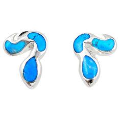 Fine blue turquoise enamel 925 sterling silver dangle earrings a69659 c14373