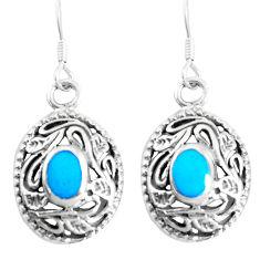 4.02gms fine blue turquoise enamel 925 sterling silver dangle earrings c11766