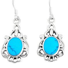 4.02gms fine blue turquoise enamel 925 sterling silver dangle earrings c11769