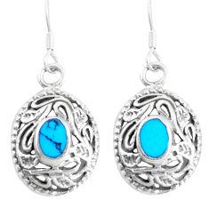 4.02gms fine blue turquoise enamel 925 sterling silver dangle earrings c11780