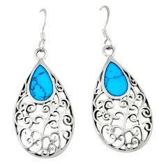 4.47gms fine blue turquoise enamel 925 sterling silver dangle earrings c11788