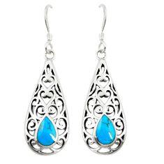 Fine blue turquoise enamel 925 sterling silver dangle earrings c11823