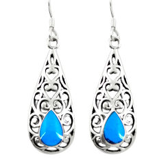 4.02gms fine blue turquoise enamel 925 sterling silver dangle earrings c11824