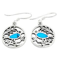 Fine blue turquoise enamel 925 sterling silver dangle earrings c22199
