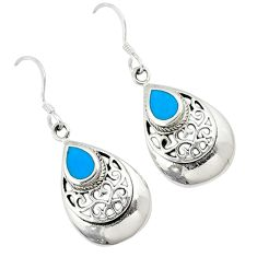 Fine blue turquoise enamel 925 sterling silver dangle earrings jewelry c11737