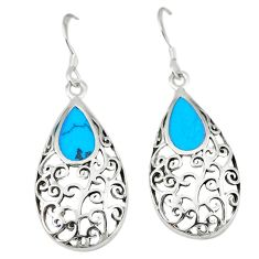 Fine blue turquoise enamel 925 sterling silver dangle earrings jewelry c11794