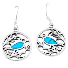 4.68gms fine blue turquoise enamel 925 sterling silver earrings a46353 c14216