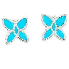 Fine blue turquoise enamel 925 sterling silver earrings jewelry a75918 c14246