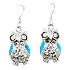 Fine blue turquoise enamel 925 sterling silver owl earrings c12587