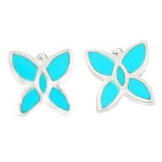 Fine blue turquoise enamel 925 sterling silver stud earrings jewelry c22723