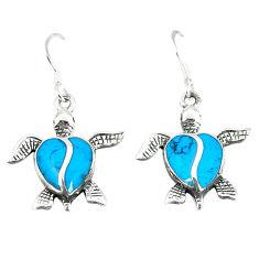 Fine blue turquoise enamel 925 sterling silver tortoise earrings a55518 c14399