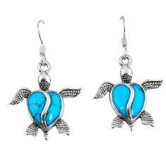 Fine blue turquoise enamel 925 sterling silver tortoise earrings a58838 c14386