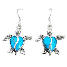 Fine blue turquoise enamel 925 sterling silver tortoise earrings a74693 c14396