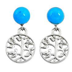 4.34cts fine blue turquoise enamel 925 silver tree of life earrings c11646