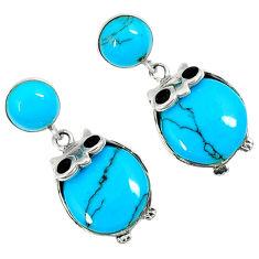 Fine blue turquoise onyx 925 sterling silver dangle earrings jewelry c11847