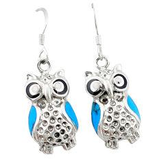 Fine blue turquoise onyx enamel 925 sterling silver owl earrings c11853