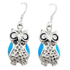 Fine blue turquoise onyx enamel 925 sterling silver owl earrings c22188