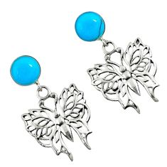 Fine blue turquoise round 925 sterling silver butterfly earrings c11683