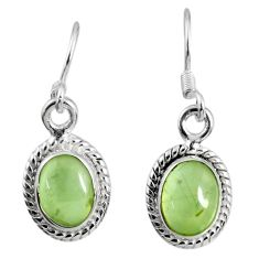 3.96cts fine green prehnite 925 sterling silver dangle earrings jewelry r60708