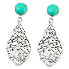 Fine green turquoise 925 sterling silver dangle earrings jewelry c11695