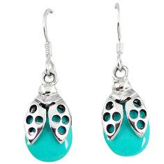 Fine green turquoise 925 sterling silver dangle earrings jewelry c11765
