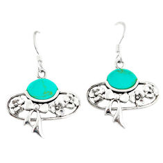 Fine green turquoise 925 sterling silver dangle earrings jewelry c11786