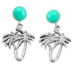 Fine green turquoise 925 sterling silver dangle earrings jewelry c12598
