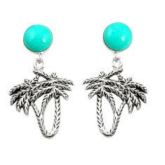 Fine green turquoise 925 sterling silver dangle palm tree earrings c12585
