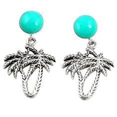 Fine green turquoise 925 sterling silver dangle palm tree earrings c12595