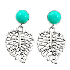 Fine green turquoise 925 sterling silver deltoid leaf earrings c11684