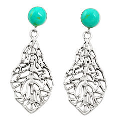 Fine green turquoise 925 sterling silver earrings jewelry c11686