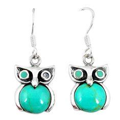 Fine green turquoise 925 sterling silver owl earrings jewelry a55498 c14310