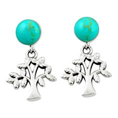 Fine green turquoise 925 sterling silver tree of life earrings jewelry c26014