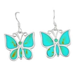 6.02gms fine green turquoise enamel 925 silver butterfly earrings c16945